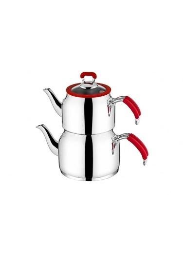 Taç tac-nestaaıle Taç Nesta Aile Boy Çaydanlık - 3 Farklı Renk Kırmızı